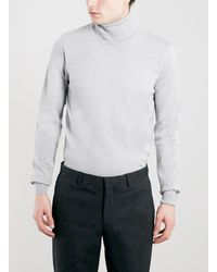 Topman Grey 100 Merino Roll Neck Sweater - Lyst