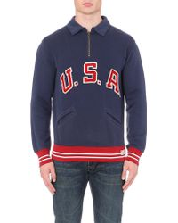 Ralph Lauren Usa Collar-detail Sweatshirt - Lyst