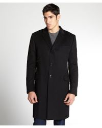 Gucci Black Wool Button Front Coat - Lyst