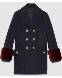 Gucci Wool-cashmere And Mink Coat - Blue
