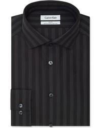 Calvin Klein Steel Non-iron Slim-fit Smokey Quartz Stripe Performance Dress Shirt - Lyst