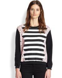 Mother Of Pearl Floralprint Striped Cotton Sweatshirt - Multicolor