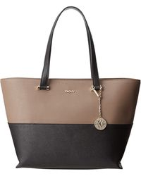 DKNY Saffiano Leather New Shopper with Pocket - Lyst