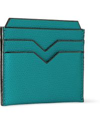 Valextra Teal Pebbled-leather Cardholder - Lyst