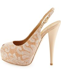 Giuseppe Zanotti Lace-Covered Leather Platform Slingback Sandal - Lyst