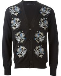 Alexander McQueen Feathers and Flowers Embroidered Cardigan - Lyst