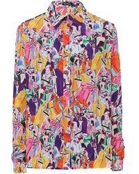 House Of Holland Print Silk Shirt - Lyst