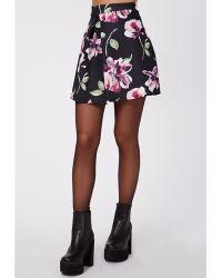 Missguided Seara Floral Print Front Pleat A Line Mini Skirt Black - Lyst
