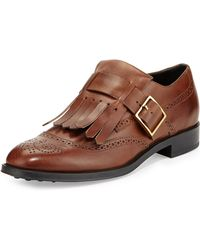 Tod's Leather Monk-strap Loafer with Fringe - Lyst