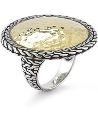 John Hardy Pre-owned Sterling Silver and 22k Yellow Gold Hammered Large Round Ring - Lyst