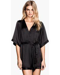 H&M Satin Kimono black - Lyst
