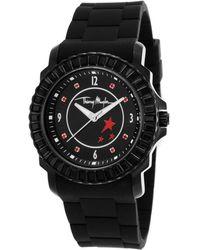 Thierry Mugler Womens Black Rubber Black Crystal Encrusted Bezel Black Dial - Lyst