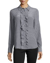 Equipment Long-sleeve Houndstooth Silk Blouse - Lyst