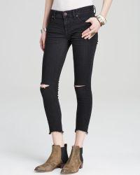 Free People Jeans - Destroyed Crop Skinny In Black - Lyst