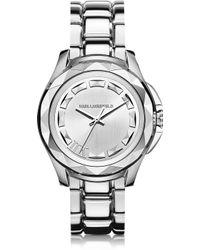 Karl Lagerfeld Karl 7 43.5 Mm Silver Ip Stainless Steel Unisex Watch silver - Lyst
