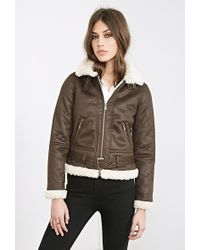 Forever 21 Faux Shearling Aviator Jacket - Lyst