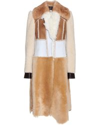 CALVIN KLEIN 205W39NYC - Patchwork Shearling Coat - Lyst