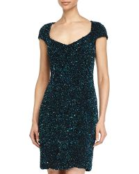 Theia Sequined V-Neck Cap-Sleeve Cocktail Dress - Lyst