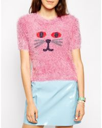 Lazy Oaf Fluffy Cat Face Short Sleeved Sweater - Pink