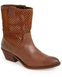 Sixtyseven - 'laurie' Perforated Leather Short Boot - Lyst