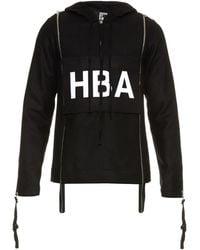 Hood By Air Half-zip Hooded Wool-blend Sweatshirt - Black