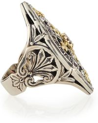 Konstantino Silver  18k Gold Rhodolite Marquise Flower Ring - Lyst