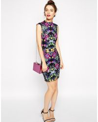 Asos Mini Pencil Dress In Floral Scuba - Lyst