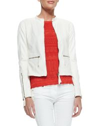 Roberto Cavalli Perforated Leather Band-collar Jacket - Lyst