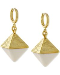 Vince Camuto - Gold-tone And Stone Pyramid Earrings - Lyst