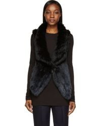 Meteo By Yves Salomon Navy and Black Rabbit Fur Assymetric Vest - Lyst