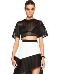 David Koma Bell Sleeve Structured Crop Top - Lyst