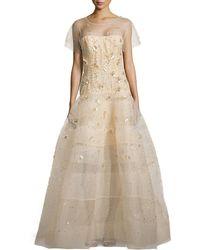 Oscar de la Renta Embellished Tulle Short-Sleeve Gown - Lyst