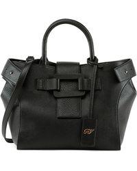 Roger Vivier Pilgrim De Jour Small Shopping Tote Bag - Black