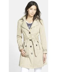Steve Madden Single Breasted Hooded Trench Coat - Natural