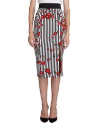 L'Wren Scott Stripe and Cherry Blossomprint Skirt - Black