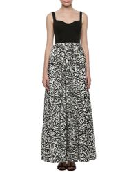 Aidan Mattox Sleeveless Sweetheart Printed Gown - Lyst