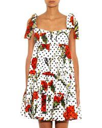 Dolce & Gabbana Floral  Polka Dot Babydoll Dress - Lyst