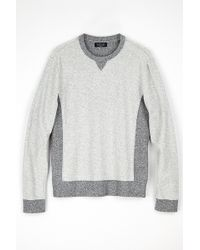 Velvet By Graham & Spencer Booker Contrast Fleece Sweater gray - Lyst