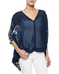 Free People Tie-Dye Top With Three-Quarter Sleeves - Lyst