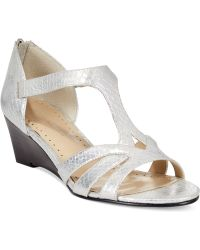 Adrienne Vittadini Corette Mid-Wedge Sandals silver - Lyst