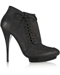 McQ by Alexander McQueen Lacedetailed Oiledleather Ankle Boots - Lyst