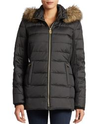 Michael Kors Cinch Waist Quilted Coat - Lyst