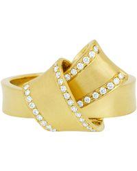 Carelle Jumbo Diamond Pavé Perimeter Knot Ring - Metallic