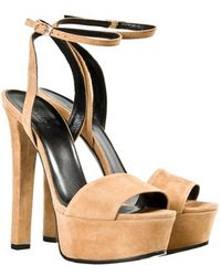 Gucci Chunky Heel Suede Sandals - Lyst