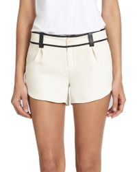 Alice + Olivia Leather-Trimmed Butterfly Shorts - Lyst