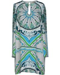 Emilio Pucci  Printed Silk Dress blue - Lyst