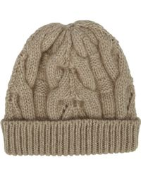 Barneys New York Beige Cable-knit Beanie - Lyst