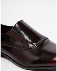 ASOS - Loafers In Burgundy Hi-shine Leather - Lyst
