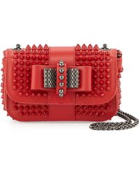 Christian Louboutin Sweet Charity Small Spiked Crossbody Bag Red - Lyst