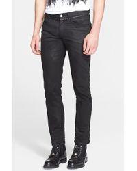 Versace Leather Stud Detail Stretch Denim Jeans black - Lyst